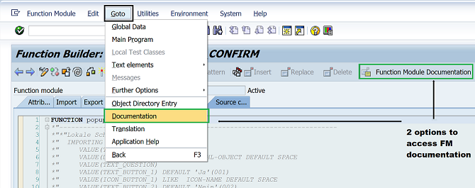 Function module documentation for any FM in SAP using SE37