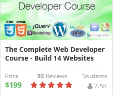 The Complete Web Developer Course – Now only $99 instead of $199 via this link