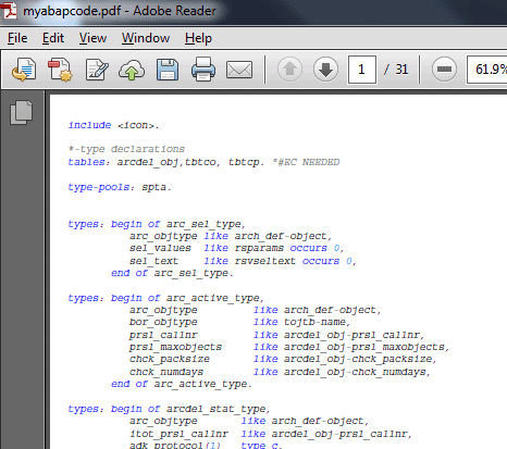 Download your ABAP code to PDF file via the standard SAP GUI