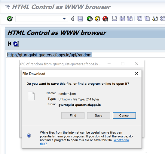 Test SAP HTTP Connection with SAPHTML_DEMO1