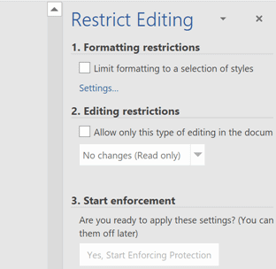 Restrict word editing