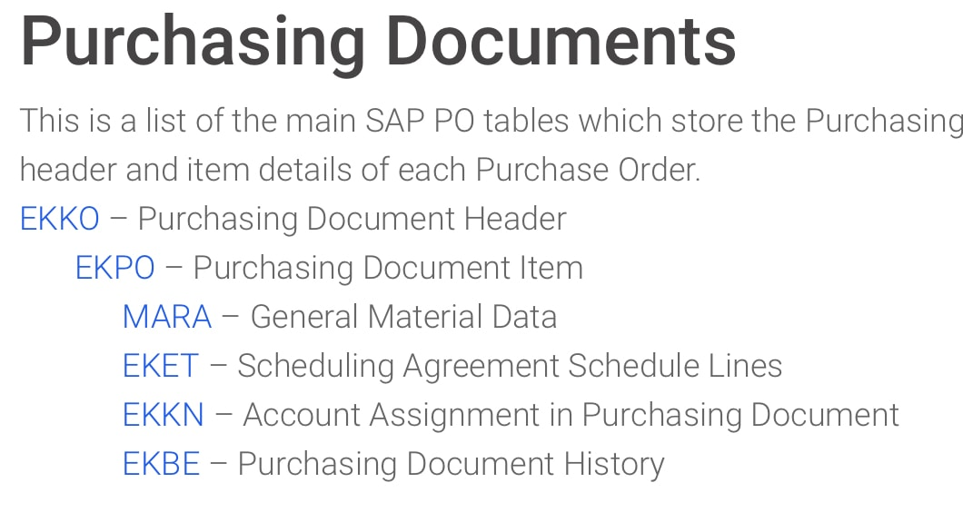 SAP Purchase order tables relationships EKKO PO Header EKPO