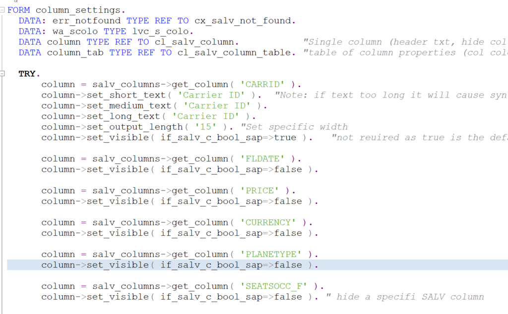 screen shot of ABAP code to hide SALV fields